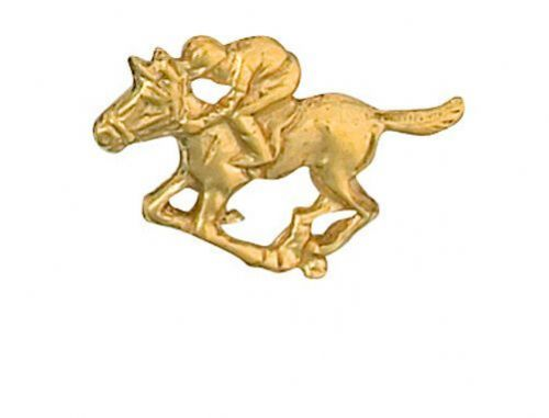 Horse & Jockey Lapel Pin Cravat Pin Gold Made in Jewellery Quarter Bham